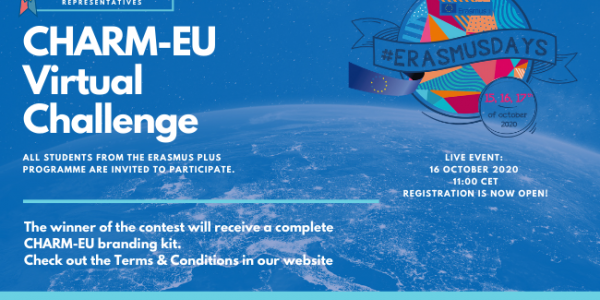 CHARM-EU Virtual Challenge and #ErasmusDays logo with the Europe map in the background.