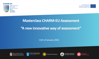 "A presentation page with the text ""Masterclass CHARM-EU Assessment: A new innovative way of assessment"" with CHARM-EU and institutional logos on the page."